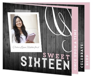 Pink & Gray Wood Sweet Sixteen Booklet Invitation