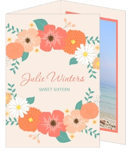 Peach Pink Floral Sweet Sixteen Invitation