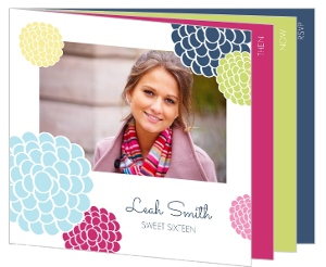 Colorful Bloom Sweet Sixteen Birthday Booklet Invitation