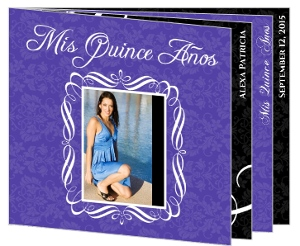 Beautiful Purple Pattern Quinceanera Birthday Booklet Invitation