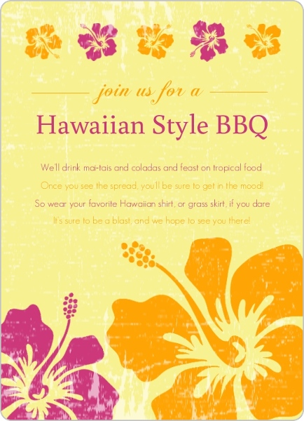 Pink And Orange Flowers Hawaiian Bbq Invitation Luau