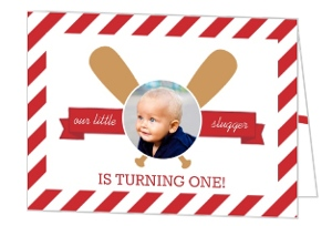 Red Stripes Baseball First Birthday Invitation