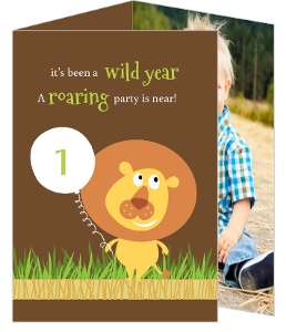 Cute Brown Lion Safari First Birthday Invitation