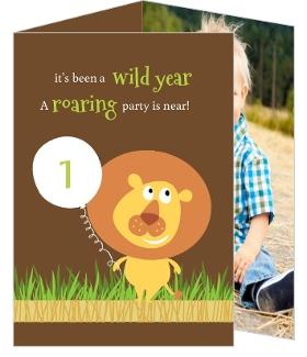 Cute Brown Lion Safari First Birthday Invitation First Birthday