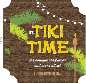 Rustic Wood Tiki Time Luau Party Invitation