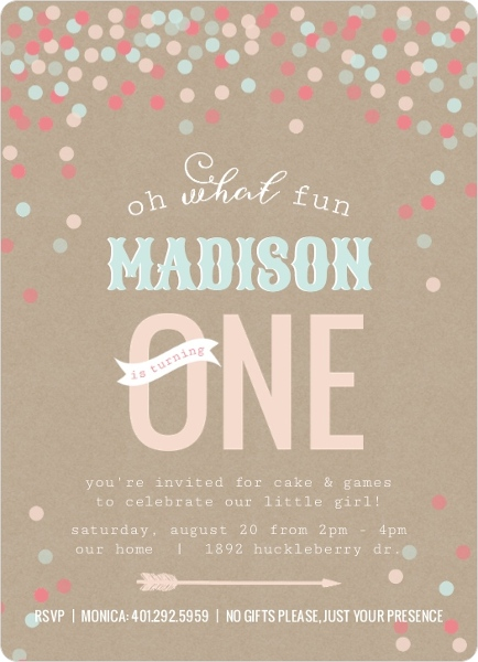 Whimsical Confetti First Birthday Invitation First Birthday