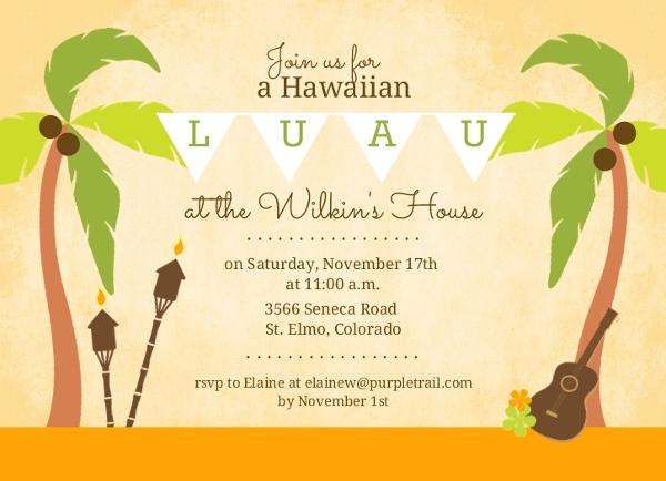 palm tree hawaiian luau invitation luau invitations