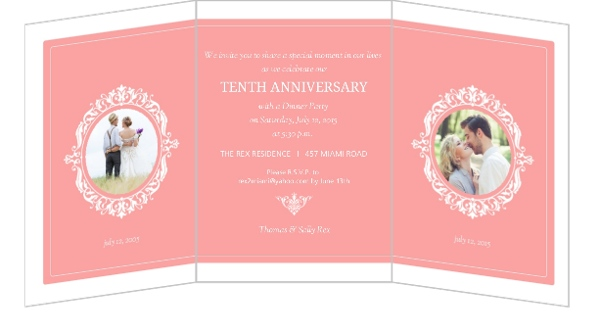 10th Wedding Anniversary Invitations: Sophisticated Monogram Trifold 10th Anniversary Invitation