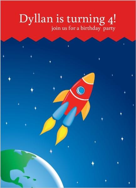 Rocket ship birthday party invitations kids birthday invitations rocket ship birthday party invitations filmwisefo