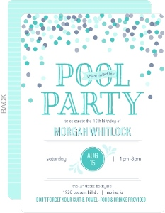 Confetti Celebration Pool Party Invitation