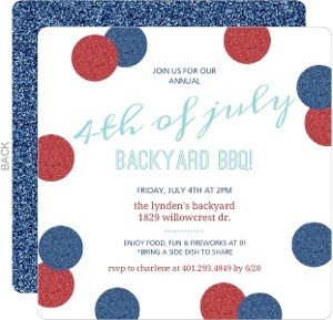 Faux Red & Blue Glitter 4th of July Invitation