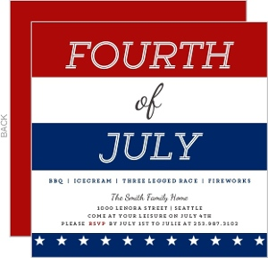 Red White Blue Stripes 4th of July Invitation