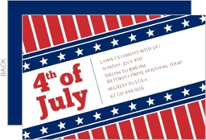 Striped Flag Banner 4th of July Invitation
