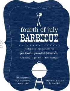 Western Woodgrain 4th of July BBQ Party Invitation