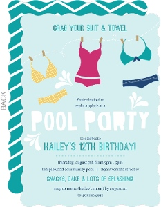 Colorful Swim Suits Pool Party Invitation