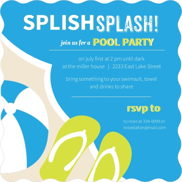 Modern Splish Splash Pool Party Invitation  Pool Party Invitations