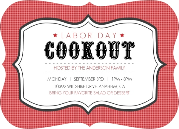 vintage cookout labor day invitations labor day party invitations