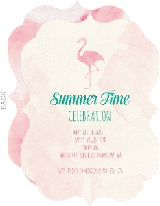 Watercolor Flamingo Summer Party Invitation