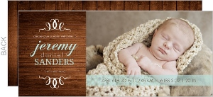 Modern Wood Turquoise Boy Birth Announcement
