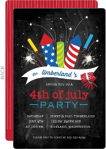 Colorful Exploding Fireworkds 4th Of July Party Invitation