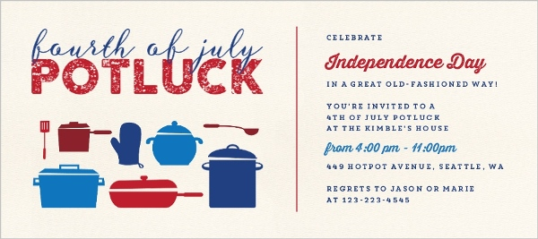 pots pans 4th of july potluck party invitation 4th of july