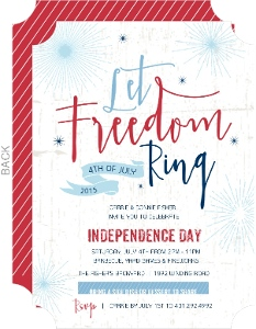 Patriotic Let Freedom Ring 4th of July Invitation