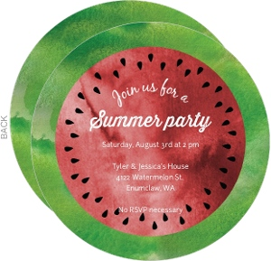 Watercolor Melon Summer Party Invitation