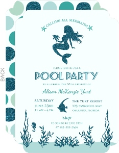 Turquoise Faux Glitter Mermaids Pool Party Invitation