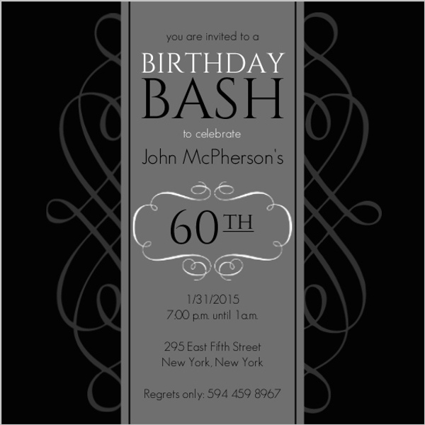Black and grey formal soiree 60th birthday invite 60th birthday black and grey formal soiree 60th birthday invite stopboris Image collections