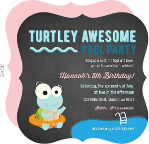 Turtley Awesome Pool Party Invitation