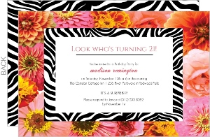Flowers and Zebra 21st Birthday Invitation