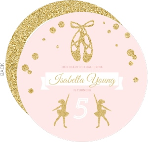 Pink & Faux Gold Glitter Ballerina Birthday Invitation
