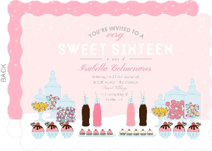 Pink Candy Buffet Sweet Sixteen Birthday Party Invitation
