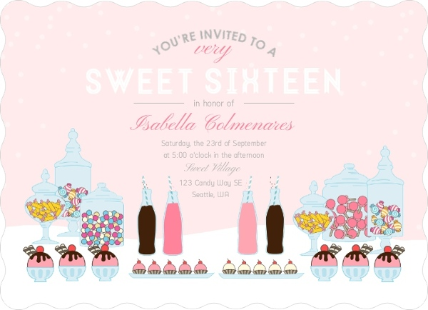 Pink Candy Buffet Sweet Sixteen Birthday Party Invitation Sweet 16