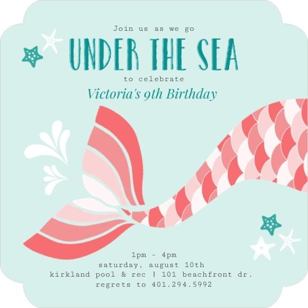 Coral Mermaid Tail Kids Birthday Invitation