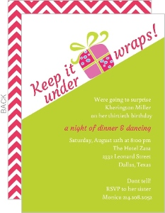 Lime Green and White Surprise Birthday Party Invitation
