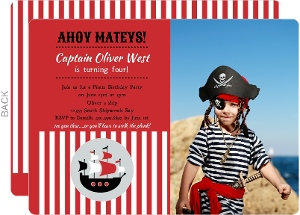 Red Striped Pirate Ship Photo Birthday Invite