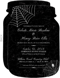 Delicate Spider Web Halloween Wedding Invitation