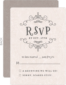 Pastel Pink Lace Halloween Wedding Response Card