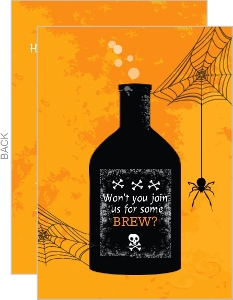Orange Poisonous Potion Halloween Invitation