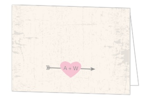 Rustic Pink Heart Wedding Thank You Card