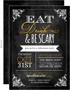 Chalkboard Frame Eat Drink Be Scary Halloween Party Invite