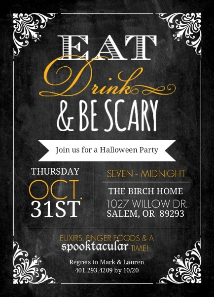 Chalkboard Frame Eat Drink Be Scary Halloween Party Invite ...