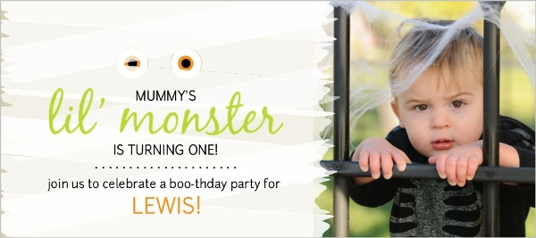 White Wrapped Mummy Halloween First Birthday Invite