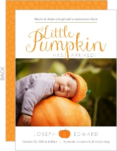 Orange Little Pumpkin Arrival Halloween Birth Announcement