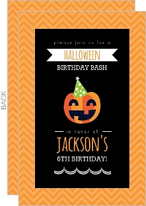 Modern Black and Orange Pumpkin Birthday Invitation