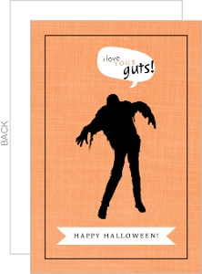 Orange and Black Zombie Halloween Card