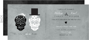 Gray Dressed Up Skulls Halloween Wedding Invitation