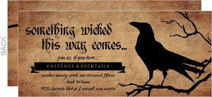 Rustic Crow Blackletter Halloween Party Invitation