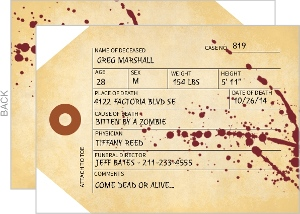 Morticians Tag Halloween Party Invitation